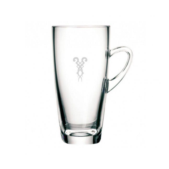 Latte Macchiato Glastasse mit Bazzar Logo