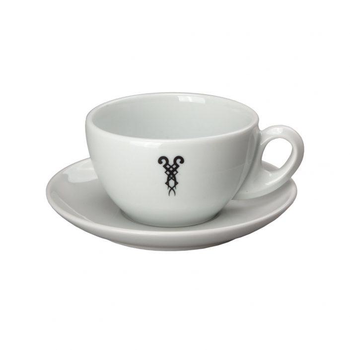 Milchkaffeetasse mit Bazzar Logo